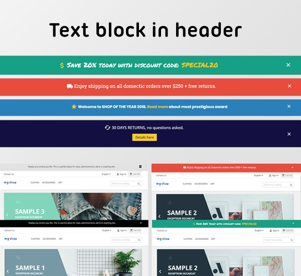 Text block in header