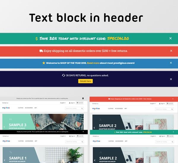 Text block in header