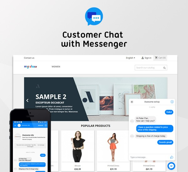 Customer chat via Messenger platform